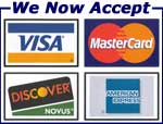WE ACCEPT VISA CARD, MASTER CARD AND AMERICAN EXPRESS